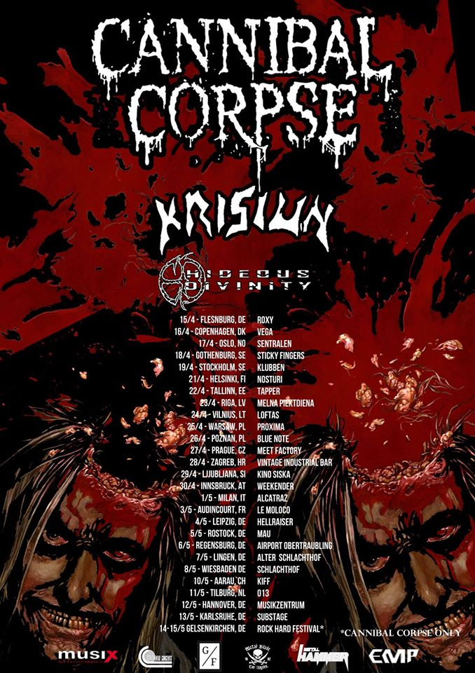 tournée cannibal corpse Krisiun